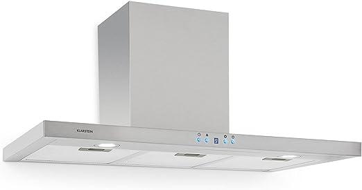 Klarstein RC90WS - Campana extractora, Extractor, Extractor de pared, Aspiración/Ventilación, 3 Niveles, Potencia máx. 650 m³/h, Acero inox, Pantalla LCD, Montaje en pared, 90 cm, Plateado: Amazon.es: Hogar