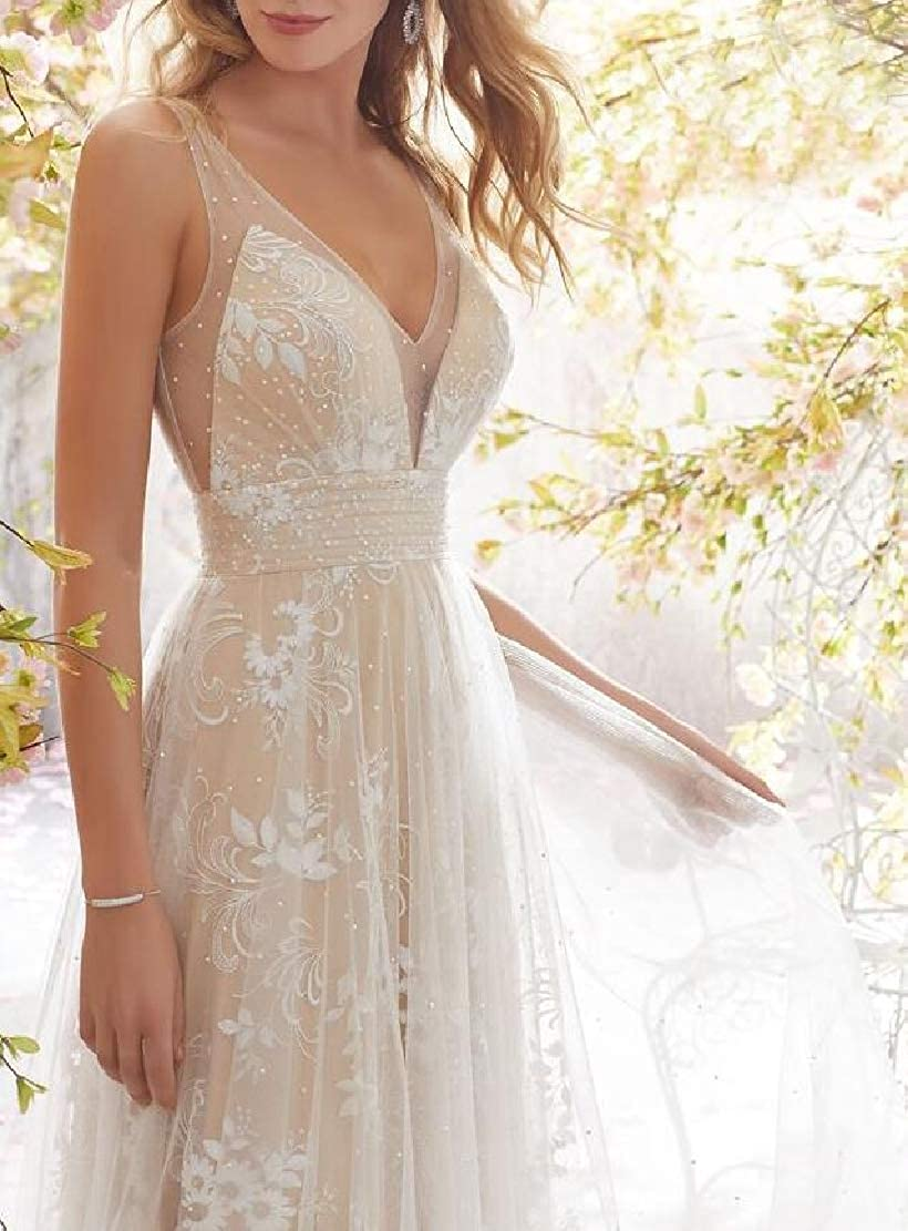 C.Zhaxidele Womens Wedding Dresses V Neck Lace Bridesmaid Long Wedding Gowns