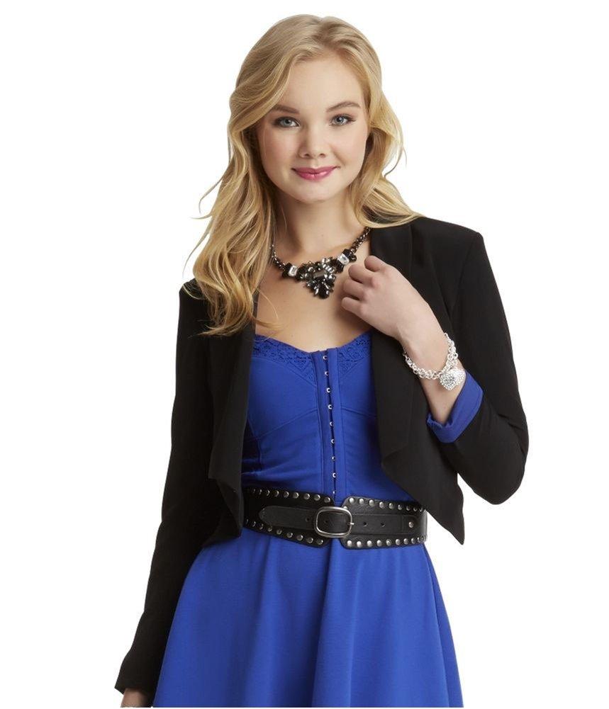 Aeropostale Womens Hanna Cropped Blazer Jacket, Black, Large by Aeropostale