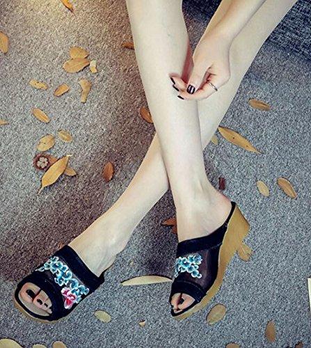 KPHY-neue Besteickt hausschuhe hochhackige sandalen von folk - dick dick dick nach hause baotou schuhe schuhe c3cea0