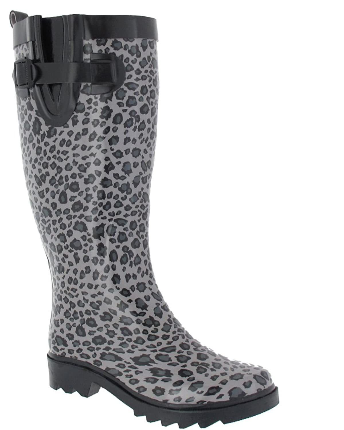 Capelli New York Shiny Baby Leopard Printed Ladies Tall Sporty Rubber Rain  Boot Black Combo Combo