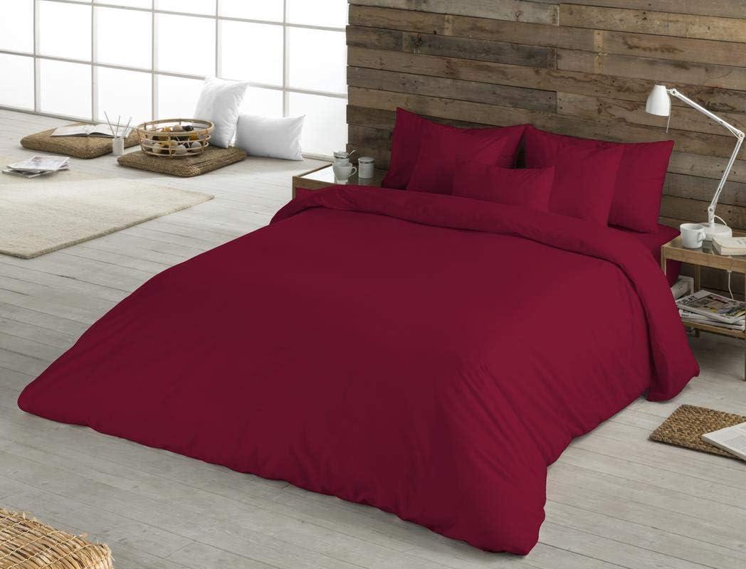 BOHEME Funda nórdica Lisa Color Granate 100% algodón Cama 150 cm ...