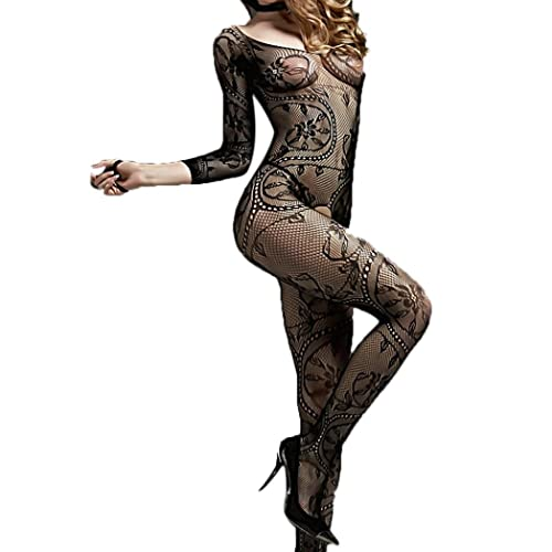 JYC Clearance Hot Sale! Womens Sexy Mesh Lingerie Fishnet Babydoll Lingerie Bodycon Mini Dress odystocking Crotchless Bodysuit With Sleeves Sexy Silk Stocking For Look Long