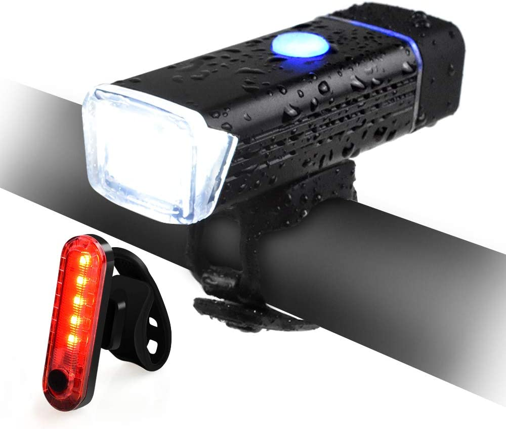 QIANXIANG USB Rechargeable Bike Light,LED Headlight Set Free Taillight,USB Rechargeable IPX6 Waterproof Super Bright Safety Bicycle Light with 4 Modes for Bicycles, Road, MTB, Scooter