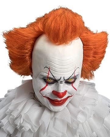 Horror Clown Perucke Mit Weisser Stirnglatze Orangefarbenen Haar