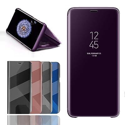 BOSHANDA Funda Samsung S9 Case Clear View Standing Cover, Flip Cover Carcasa para Samsung Galaxy S9 Soporte Plegable, Cierre Magnético - Púrpura