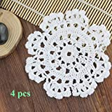 Handmade Crochet Coasters,Ezeso 6inch Round Crochet Cotton Lace Table Placemats Pure White Tablecloth(4 pcs, 6inch)