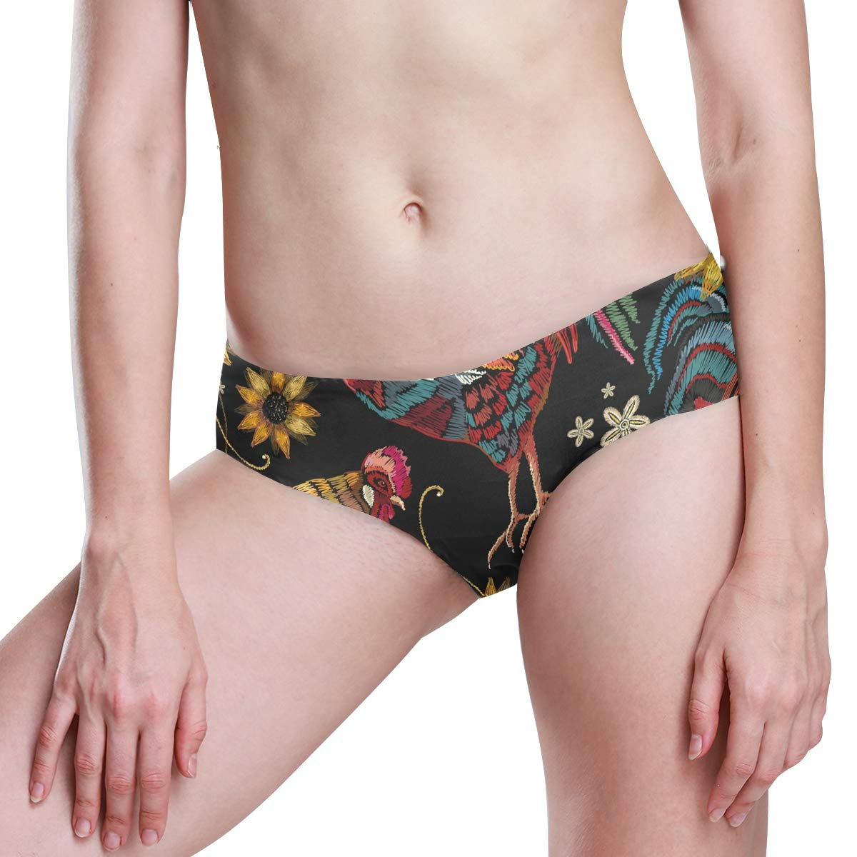 KGuanJi Seamless Rooster Chicken Sunflower Bikini Underwear Low Rise-2 Pack