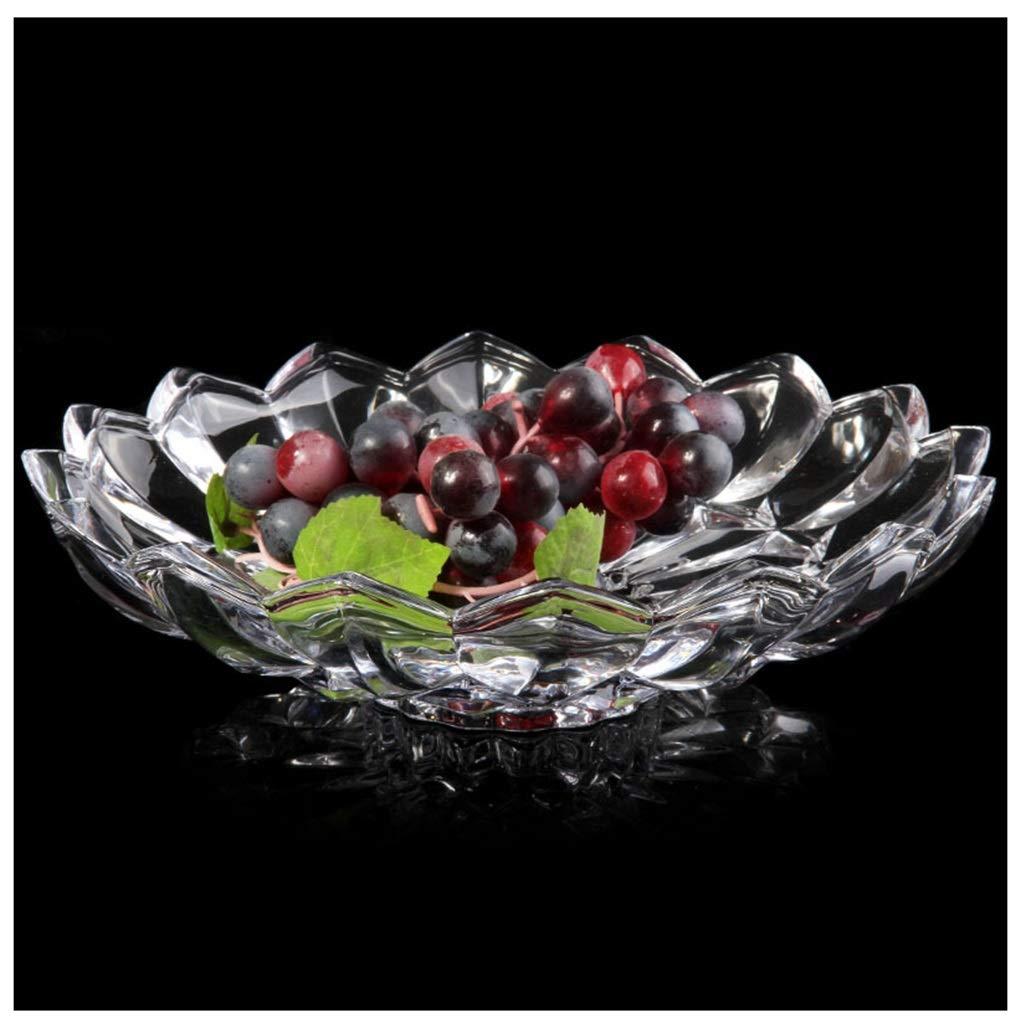 Y.H.Valuable フルーツバスケット クリスタルガラスフルーツプレートファッションクリエイティブヨーロッパ透明なラウンドフルーツトレイ   B07QTWSPN4