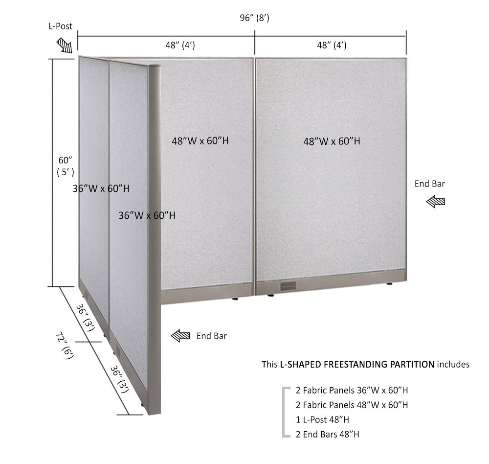 Large Fabric Room Divider Panel GOF Freestanding L Shaped Office Partition 72D x 96W x 72H