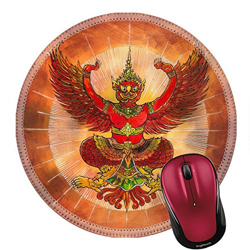 Liili Round Mouse Pad Natural Rubber Mousepad IMAGE ID: 23046213 Garuda Thai mythology eagle or bird