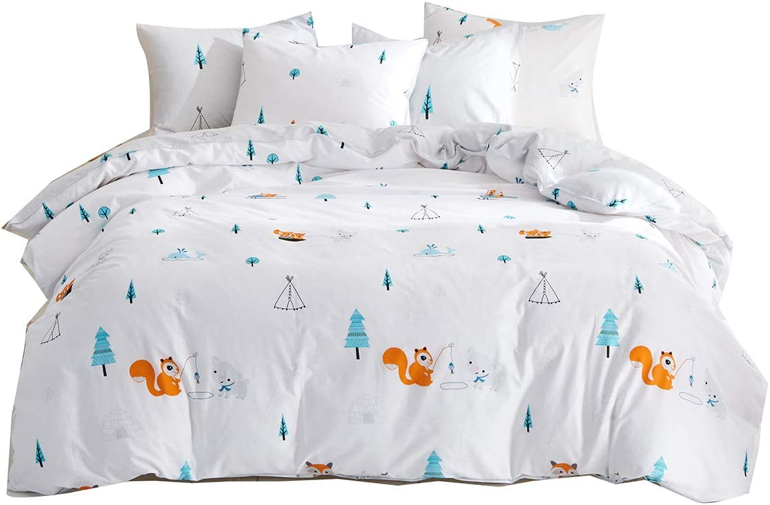 Uozzi Bedding Squirrel & Bear & Trees & Whale & Ice House Pattern Cotton White Duvet Cover Set Reversible Print-Kids, Boys,Girls,Teen, Adult-Cute Soft Hotel Luxury (Squirrel, Twin)