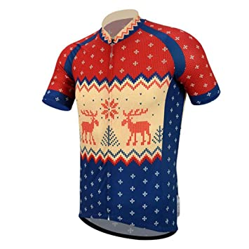 Christmas Jersey Design.Redbear Christmas Cycling Jersey For Men Traditional Christmas Jumper Design Made Of High Performance Soft Touch Fabric For Road Cycling