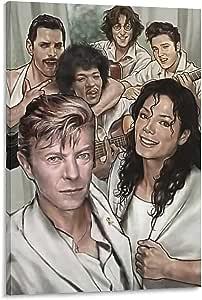 Póster de la pared y póster de la colección Rock Legends Freddie Mercury, John Lennon, Elvis Presley, Jimi Hendrix, David Bowie y Michael de 60 x 90 cm