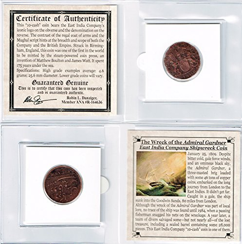 1808 Uk 1808 Gardner Shipwreck East India Co 10 Cash Coin Mini Album Certificate Story  Circulated
