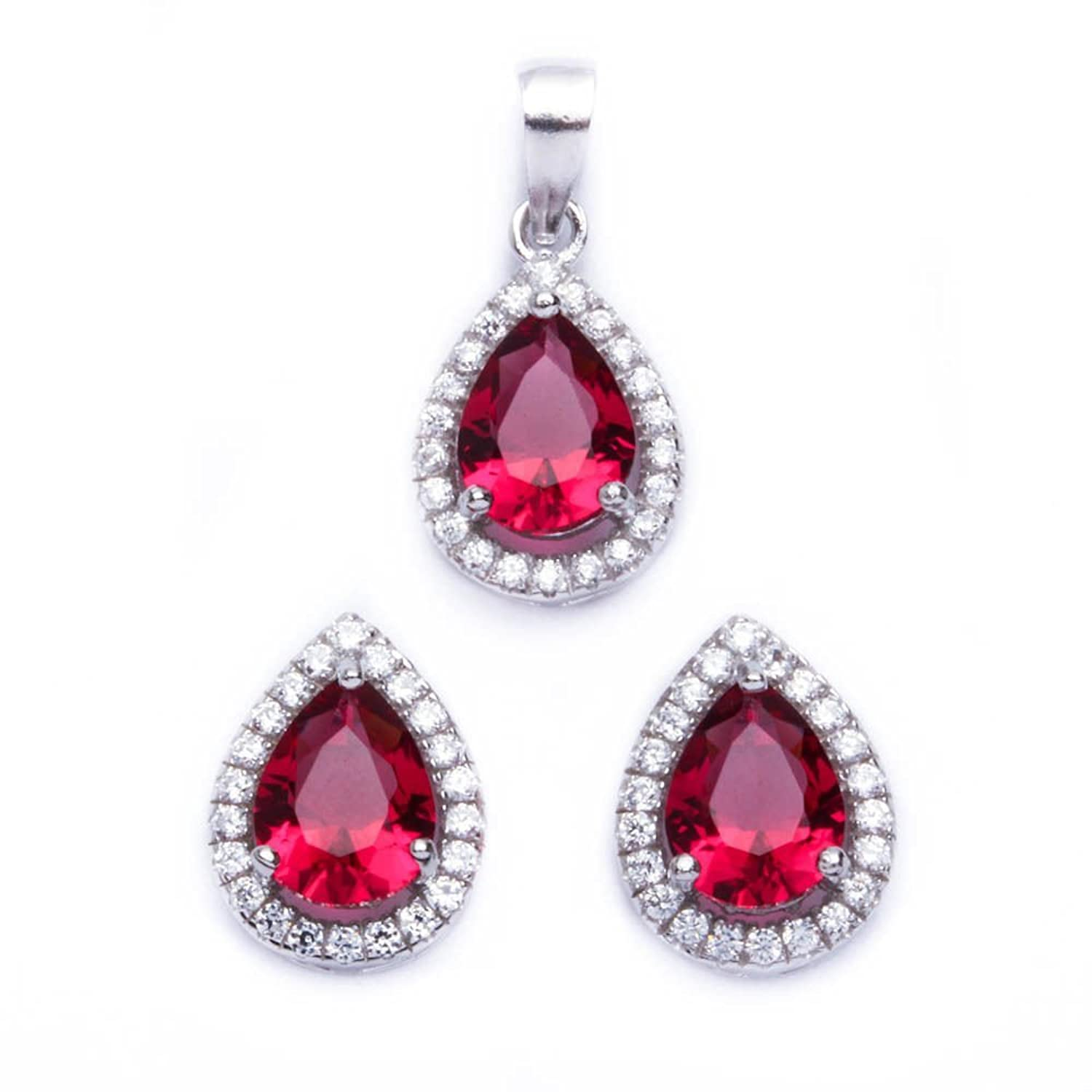 .925 Sterling Silver 2.50ct Pear Cut Simulated Ruby & Cz Earring & Pendant Jewelry set