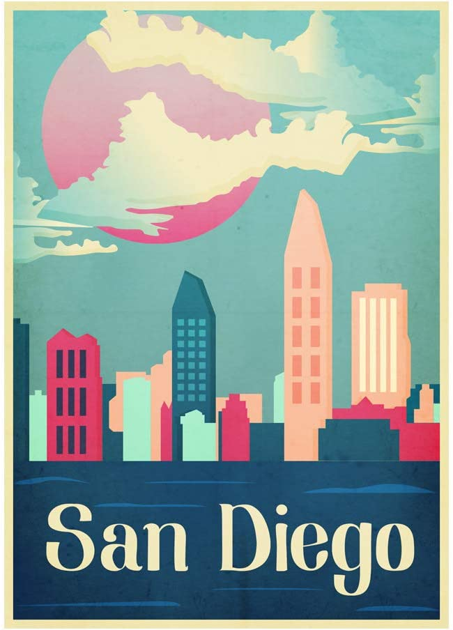 Generic Vintage Poster Travel San Diego USA City Art Poster Print Wall Decor 24x36 Inches Photo Paper Material Unframed