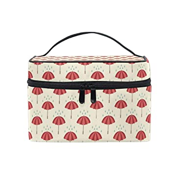 1b35f9cab4a1 Travel Makeup Cosmetic Bags Red And Pink Umbrellas With Rain ...
