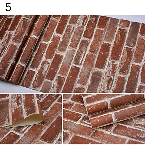 dezirZJjx Wall Decals Stickers,Retro 3D Effect Brick Stone Style Wall Paper Tile Print Wall Paper Home Decor - 5#