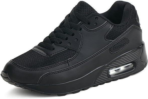 Mujer Zapatillas de Deporte con Amortiguación de Aire Zapatos con Cordones Transpirables para Caminar Correr Negro EU 38: Amazon.es: Zapatos y complementos