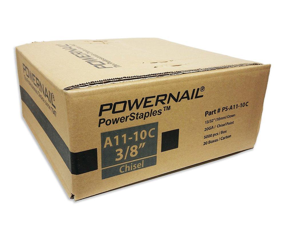 Powernail 20 Ga. Chisel Point Staples, 13/32'' Crown, 3/8'' leg, (1 Case of 20-5,000 ct boxes) by Powernail