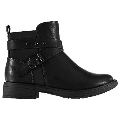 cca7c8dddfd9 Miso Womens Bramble Boots Flat Ankle Slip On Zip Slight Heel Buckle Studs  Black UK 5 (38)  Amazon.co.uk  Shoes   Bags