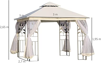 Outsunny Carpas para Exterior Grandes con Mosquitera Cenador Elegante para Jardín Terraza con Piquetas para el Suelo Fácil de Drenar Poliéster Acero 300x300x265 cm: Amazon.es: Jardín