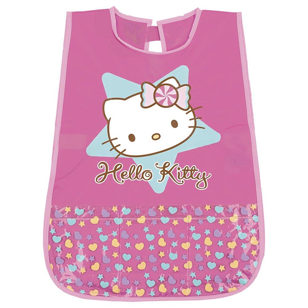 Hello Kitty Kittel für Mädchen - PVC Schürze Wasserdicht und Frontalfach - Ideal als Schutz für Kinderkleidung - 3 bis 5 Jahre - Rosa - Perletti 99654