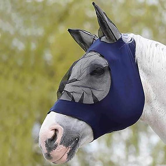 Homemust Masque de Mouche Cheval Masque Anti-UV Anti-moustiques avec Oreilles Protecteur pour Mailles Respirant d/équitation Masque de Mouche /à Maille Fine avec Oreilles