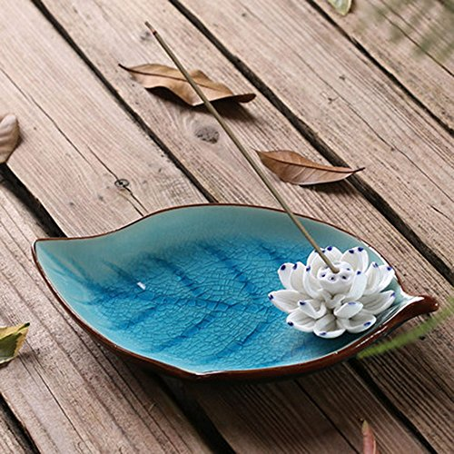 Censer Ceramic Handmade Artistic Incense Holder Burner Stick Coil Lotus Ash Catcher Buddhist Water Lily Plate Single Hole Round IN-013(Style1)