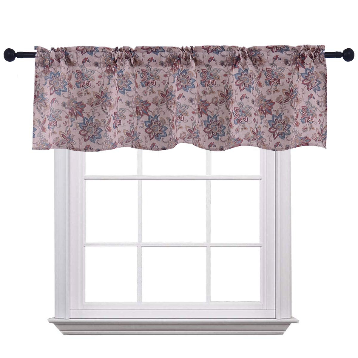 Curtain Valances for Windows Burlap Linen Floral Print Window Curtains for Kitchen Living Dining Room 58 x 15 inches Rod Pocket 1 Valance Red by Jinlei