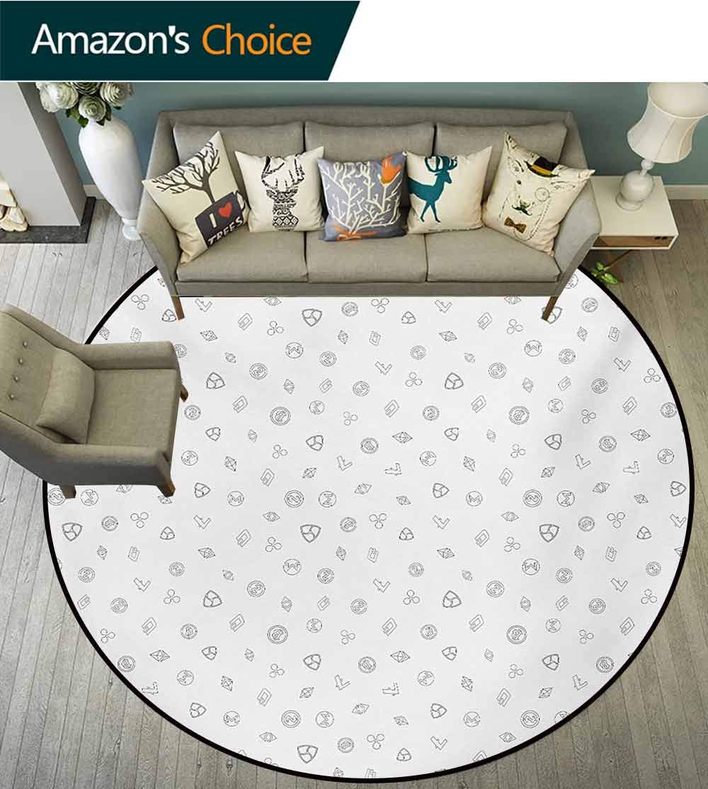 RUGSMAT Money Round Rug,Cryptocurrency Themed Pattern Banking Business Blockchain Exchange and Finance Carpet Door Pad for Bedroom/Living Room/Balcony/Kitchen Mat,Diameter-47 Inch