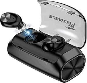 TECHABLE Wireless Bluetooth Earbuds | Wireless Earbuds | Bluetooth Headphones - with Built-in mic and 2600mAh Power Bank/Charging case [BT 5.0+EDR, Water-Resistant IPX5]