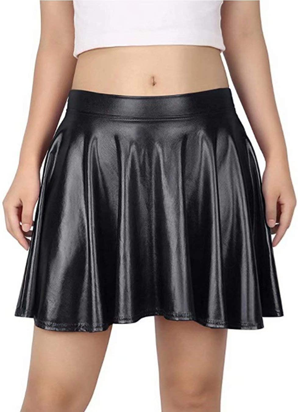 Twotwowin Womens Fashion Shiny A-Line Skirt Stretchy Flared Pleated Mini Metallic Skater Skirt