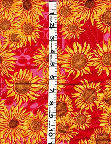 - 1 Yard Sunflowers by Leere' Aldrich from Clothworks Cotton Quilt Fabric Y0425-4