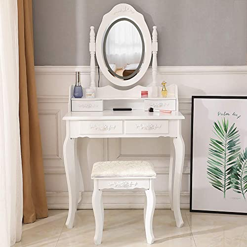 TryMe Modern LED 360-Degree Rotation Removable Mirror 4 Drawer Dresser Vanity Table with Stool