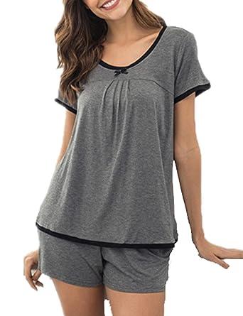 e3913f4622 Schlafanzug Pyjama Shorty Damen Nachtwäsche Kurz Zweiteiliger mit Taschen  Tops Lässige Shorts Sommer