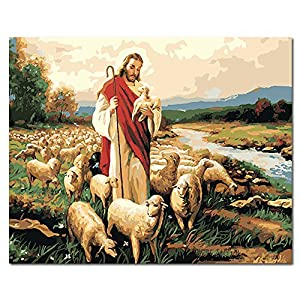 Mesno DIY Oil Painting ,Paint by Number Kit for Adults Kids-The Love of Jesus 16x20 inch [Framless]