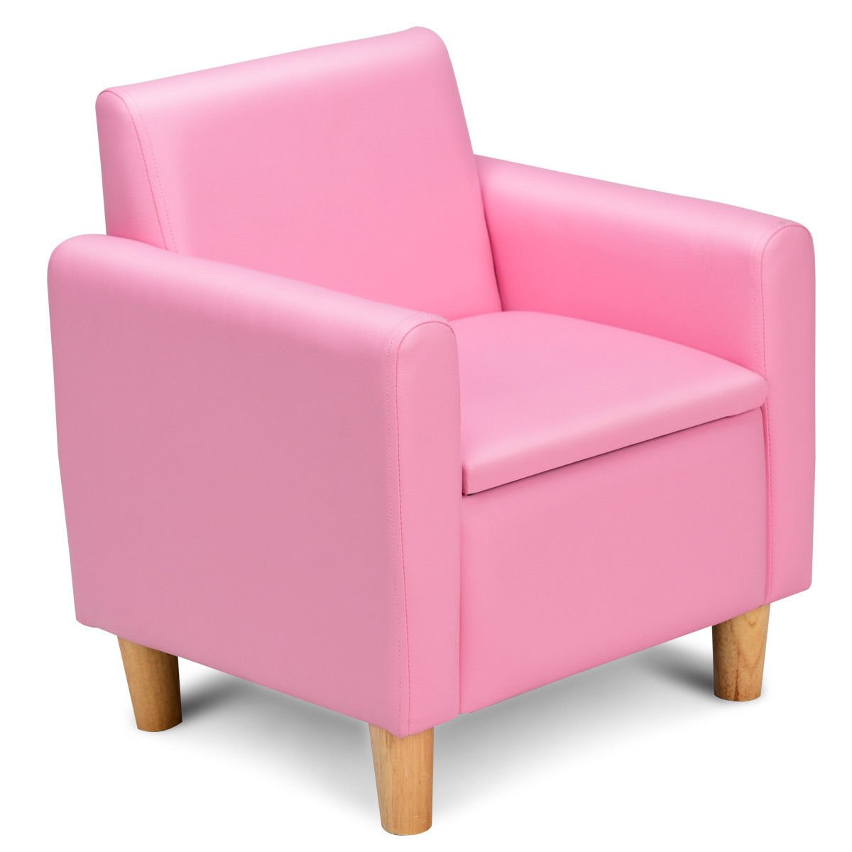 Pink Kids PVC Leather Single Armrest Chair Storage Box Sofa with Ebook