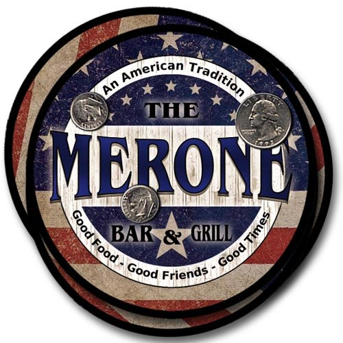 Merone Family American Bar and Grill Neoprene Drink Coasters from ZuWEE