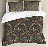 Moroccan Decor Queen Size Duvet Cover Set by Ambesonne, Colorful Ethnicity Round Ornamental Islamic Architecture Building Palace Tourism, Decorative 3 Piece Bedding Set with 2 Pillow Shams