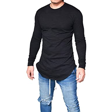 3a7a6124cab Men T-Shirt Slim Fit O Neck Long Sleeve Muscle Summer Tee Long Line Casual