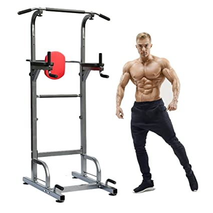 Power Tower Workout Dip Station Adjustable Height Multi Function Pull Up Bar For
