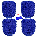 #7: Bhivorga Premium Microfiber Car Wash Mitt High Density Ultra-soft wash glove LINT-FREE SCRATCH-FREE With 1 Pic polishing cloth (4 pack)