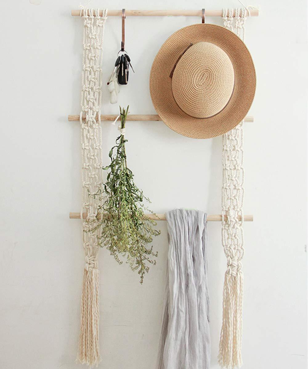 LSHCX Boho Macrame Floating Swing Hanging Shelf Wall Display Storage Shelves Cotton Rope Organizer Rack