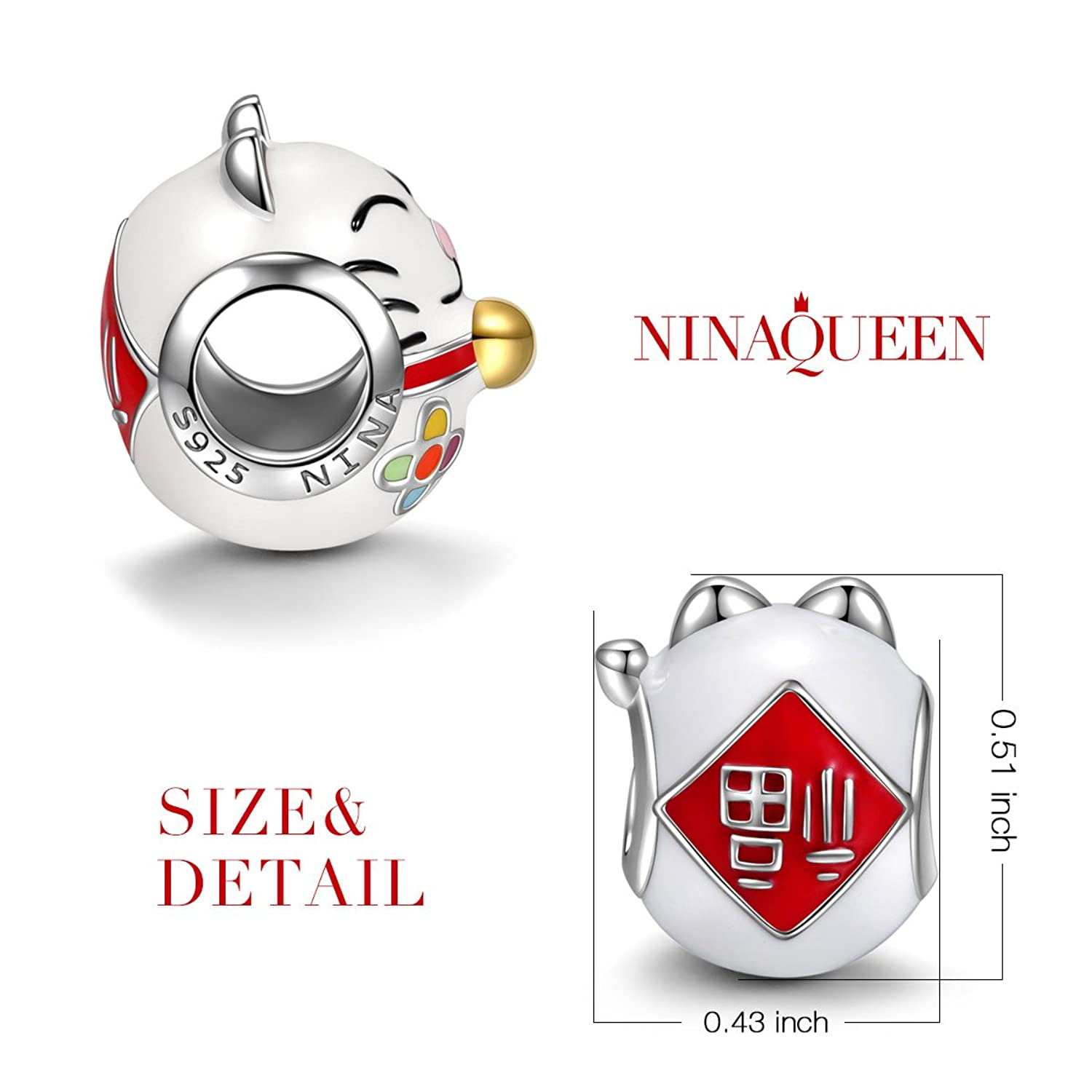 NinaQueen Lucky Cat 925 Sterling Silver Charms Bead for women fit pandora charms bracelet KL58gBbi4