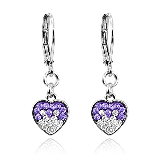 Girls Earrings Two Color Crystal Dangle Heart Rhodium Plated Lever Back Fashion Jewelry for Girls
