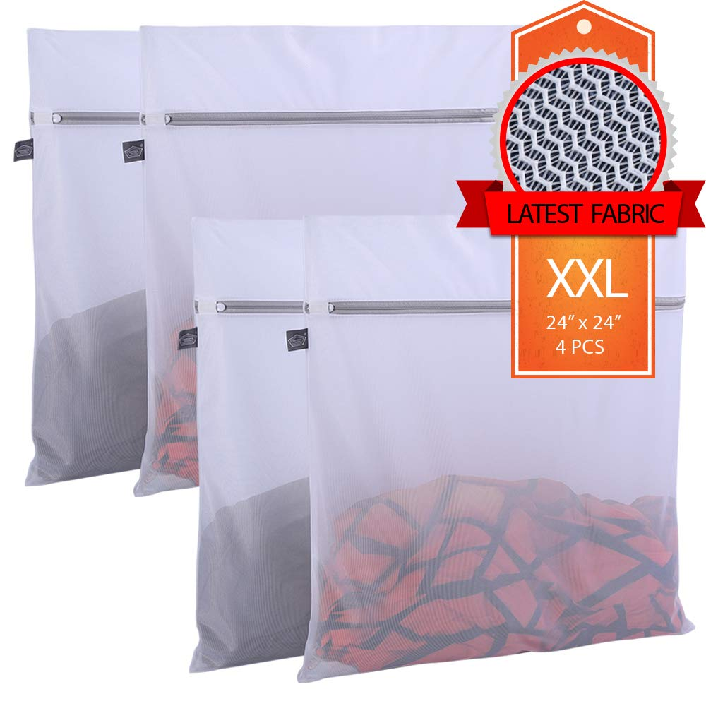 Kimmama 4 Pack Laundry Mesh Bag,4 XXL Large Size Mesh Laundry Bag-Heavy Duty Fine Mesh Wash Bag for Washing Machine-Supper Zipper Net Laundry Bag for Travel,Lingerie,Sweater,Garment,Undergarment