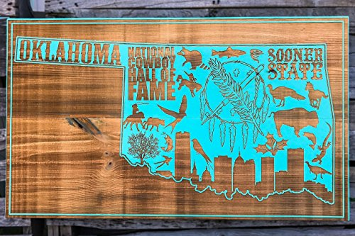 State of Oklahoma Abstract wood engraved map by Fire & Pine