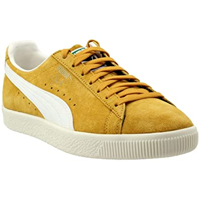 PUMA Men s Clyde Premium Core Artisan s Gold Whisper White Athletic Shoe 961757b1e